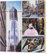 New York Nyc Collage Wood Print