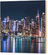 New York Panorama By Night Wood Print