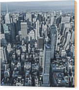 New York Panoramic View From Empire Wood Print