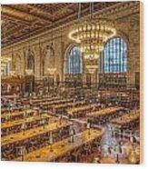 New York Public Library Main Reading Room Ix Wood Print