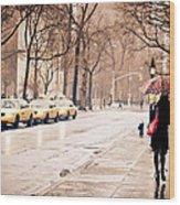 New York Rain - Greenwich Village Wood Print