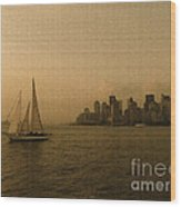New York Sailing At Sunset Wood Print by Avis  Noelle