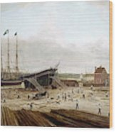 New York Shipyard, 1833 Wood Print