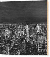 New York Skyline 3bw Wood Print