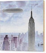 New York Skyline And Blimp Wood Print