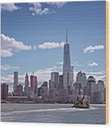 New York Skyline And Boat Wood Print
