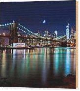New York Skyline And Brooklyn Bridge With Crescent Moon Rising Wood Print