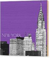 New York Skyline Chrysler Building - Purple Wood Print