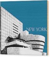 New York Skyline Guggenheim Art Museum - Steel Blue Wood Print by DB Artist