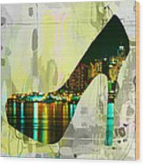 New York Skyline In A Shoe Wood Print