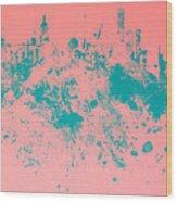 New York Skyline Paint Splash Wood Print