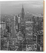 New York Skyline Panorama Bw Wood Print