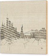 New York Skyline Sheet Music Cityscape Wood Print