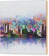 New York Skyline Splats 2 Wood Print
