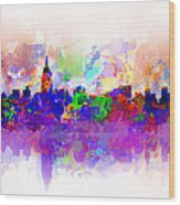New York Skyline Splats 3 Wood Print by Bekim Art