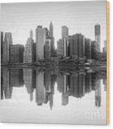 New York Skyline Sunset Bw Wood Print