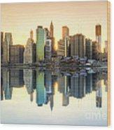 New York Skyline Sunset Wood Print