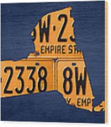 New York State License Plate Map Wood Print
