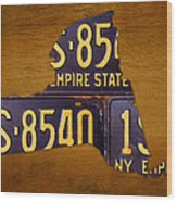 New York State License Plate Map - Empire State Orange Edition Wood Print