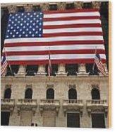 New York Stock Exchange Bride And Groom Dancing Wood Print