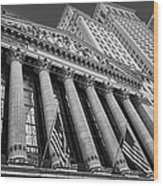 New York Stock Exchange Wall Street Nyse Bw Wood Print