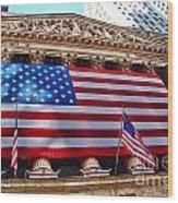 New York Stock Exchange With Us Flag Wood Print