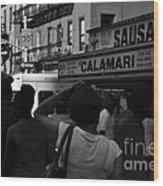 New York Street Fair - Black And White Wood Print