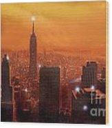 New York Sunset Wood Print by Steve Crisp