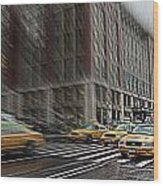 New York Taxi Abstract Wood Print