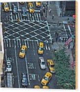 New York Taxi Rush Hour Wood Print