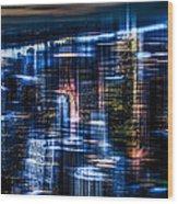 New York - The Night Awakes - Blue I Wood Print