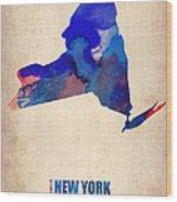 New York Watercolor Map Wood Print