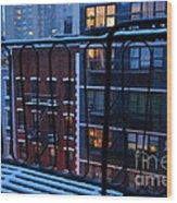 New York Window - Fire Escape In Winter Wood Print