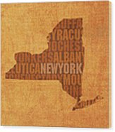 New York Word Art State Map On Canvas Wood Print