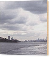 New York Harbor Panorama Twin Towers And Statue Wood Print