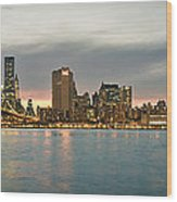 New York City - Brooklyn Bridge To Manhattan Bridge Panorama Wood Print