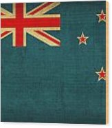 New Zealand Flag Vintage Distressed Finish Wood Print