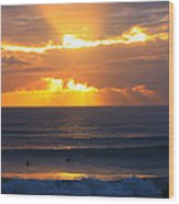 New Zealand Surfing Sunset Wood Print