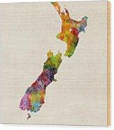 New Zealand Watercolor Map Wood Print