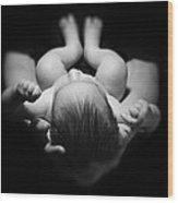 Newborn Baby Sleeping In Father's Hands Wood Print