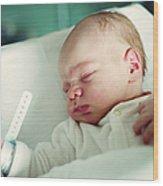 Newborn Boy. First Day Wood Print