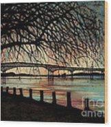 Newburgh Beacon Bridge Sunset Wood Print by Janine Riley