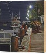 Newburyport Docks Full Moon Wood Print