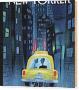 Newlywed Couple In A Taxi Wood Print