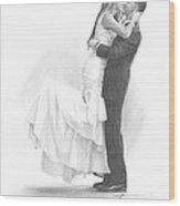 Newlyweds Kissing Pencil Portrait Wood Print