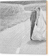 Newlyweds Walking Kissing Pencil Portrait Wood Print