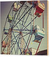 Newport Beach Ferris Wheel In Balboa Fun Zone Photo Wood Print by Paul Velgos