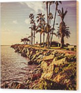Newport Beach Jetty Vintage Filter Picture Wood Print