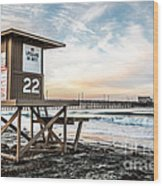 Newport Beach Pier And Lifeguard Tower 22 Photo Wood Print