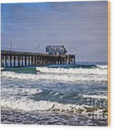 Newport Beach Pier In Orange County California Wood Print by Paul Velgos